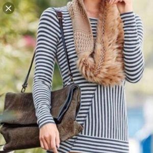 Cabi Ernest Tee Navy Blue Gray Stripe top Size S